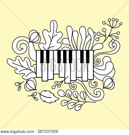 Music Festival Poster, Vector Concept. Layout With Piano Keys, Leaves And Twigs Of Plants, Fruits Of