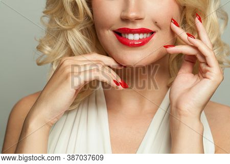 Stylish Woman With Red Manicured Nails  Close Up On White, Fashion Portrait