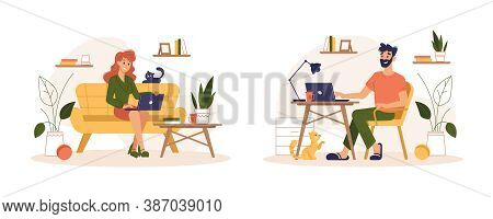 People Working At Home Office, Freelance Home Work Online, Flat Illustration. Man And Woman Working