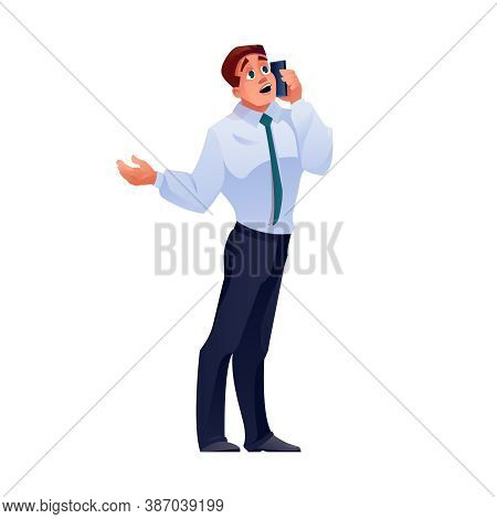 Man Talking On Phone, Businessman Call On Mobile, Isolated Flat Cartoon Character. Businessman With