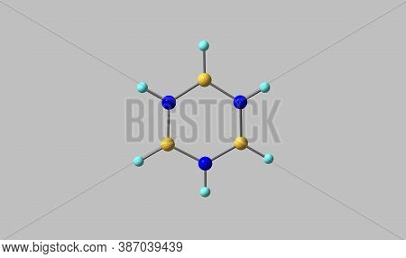 Borazine Or Borazole Is A Polar Inorganic Compound With The Chemical Formula B3h6n3. 3d Illustration