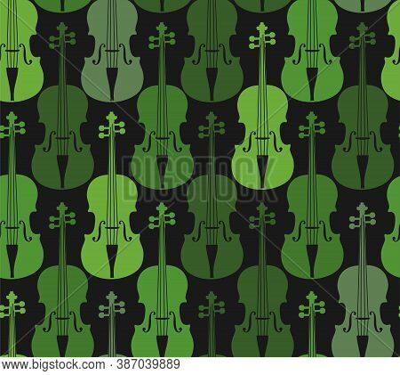 Green Violins, Seamless Pattern. Green Violins On A Gray Field. Color, Flat Decor. Vector.