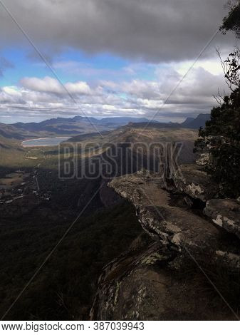 View From Rock Ledge To The Lakes And Mountains Below, Grampians, Australia