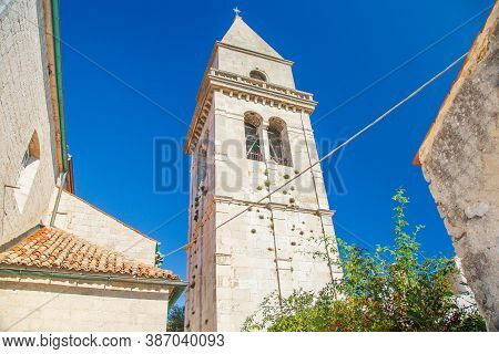 Cathedral Tower In Old Town Of Osor Between Islands Cres And Losinj, Croatia
