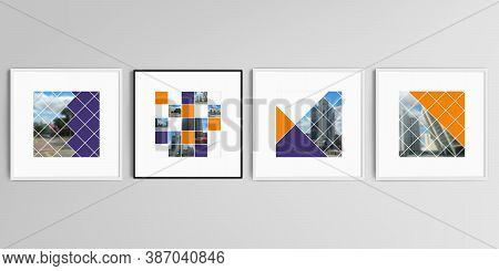 Realistic Vector Set Of Square Picture Frames Isolated On Gray Background. Abstract Design Project I