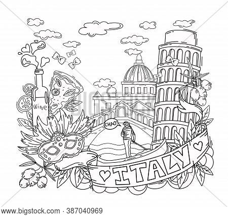 Vector Illustration And Coloring Book Italy. City Attraction. Objects Are Isolated.