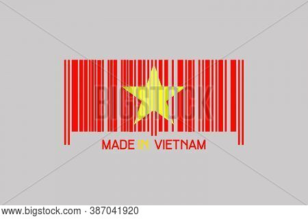 Made In Vietnam. Barcode In The Form Of The Flag Of Vietnam. Isolated On A Gray Background. Business