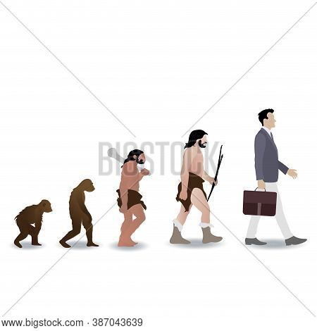 Human Evolution From Ape To Businessman. Vector Monkey And Prehistoric Ape, Caveman Grow To Business
