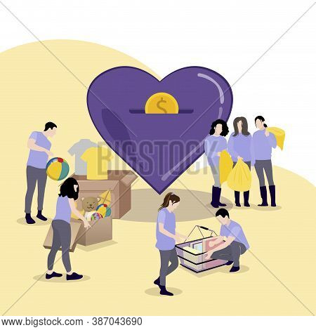 Volunteering Concept, People Collect Things And Money For Charity. Vector Donate Charity, Help And H