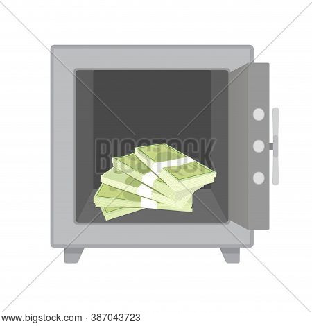 Stack Money Cash In Metal Safe. Vector Safebox With Stack Mobey, Storage And Protect Wealth Illustra
