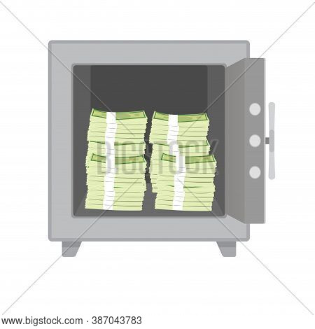 Cash Money Stack Keep In Safe Box. Reliably And Safety Box For Valuable Things. Vector Illustration
