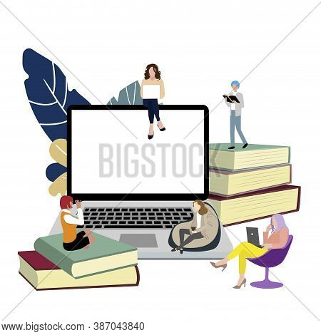 Study Online Concept. Vector Remote Education, Distance Training School, Students Studying Sit On St