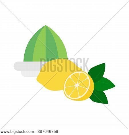 Flat Icon Lemon Squeezer With Lemon Isolated On White Background. Whole Lemon And Half Of Lemon. Vec