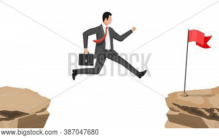 Businessman Jumps To Goal Through Abyss. Business Man In Suit With Briefcase Jump Between Gap. Obsta