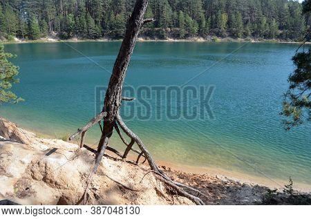 Blue Lake in the Chernigow region, Ukraine.Former quarry of quartz sand for glass production.Popular local resort at present