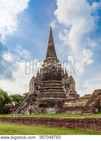 Pagoda Of Wat Phra Si Sanphet Temple In Ayutthaya Historical Park, This Is Ancient Capital And Beaut