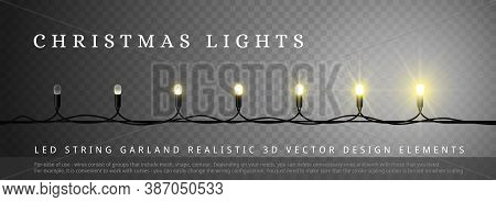 Led Christmas Lights With Different Phase Of Light. Design Element For Merry Christmas And Happy New