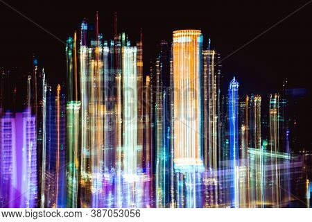 Colorful Abstract Photo Blurred Of City Tower Modern Buildings Night Bangkok Cityscape View At Twili