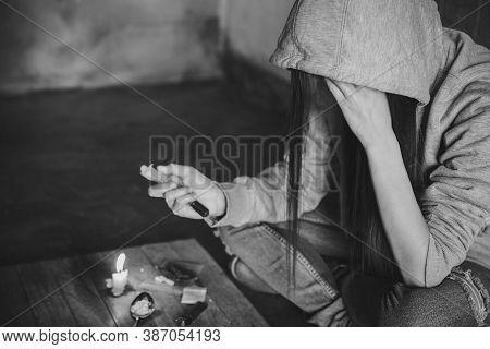 Drug Addiction. Young Woman With Drug Addiction, Anti Drug Ideas.