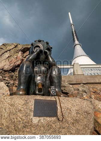 Statue Of Crying Martian, In The Background Jested Tower On Jested Mountain. 16th Of September 2020.