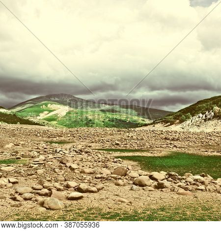 View Of The Cantabrian Mountains In Spain, Vintage Style Toned Picture