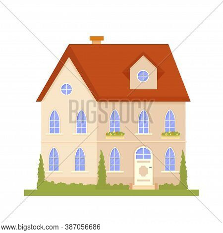 Positive, Sunny Composition With Font Of Building, House, Trees And Nature Stock Vector Illustration