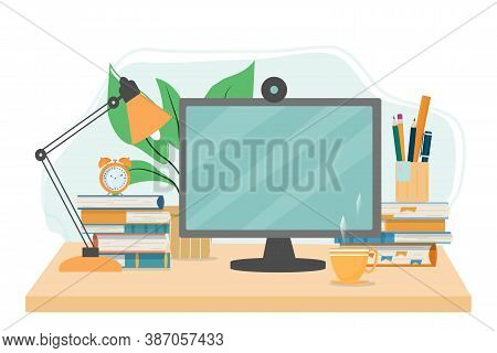 Online Education, E-learning, Stydy From Home Concept Stock Vector Illustration. Desk With Monitor,