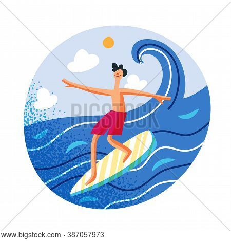 Male Surfer Flat Illustration. Water Activities. Young Caucasian Man Riding With Surfboard On Waves.