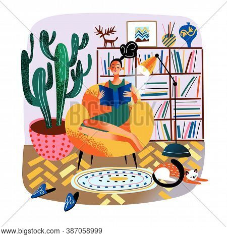 Woman Reading Book, Sitting In Armchair. Bookshelves. Young Girl Reader Enjoys Hobby, Relaxes And Re