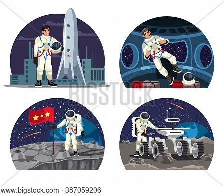 Vector Astronaut Spaceship Isolated Scene Set. Smiling Man In Spacesuit Standing With Helmet In Hand