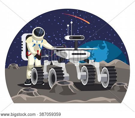 Vector Man Astronaut Wearing Helmet And Spacesuit Holding Wrench And Repairing Moon Rover Car Machin