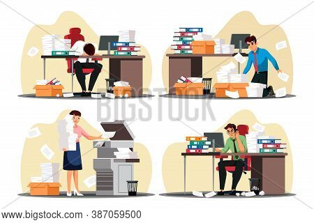 Vector Busy Overworked Man Woman Office Employee Scene Set. Man Woman Working At Computer, Sleeping