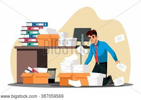 Unhappy, Stressed Overworked Employee Kneeling Front Of Box With Paper Document Stack. Annoyed Offic