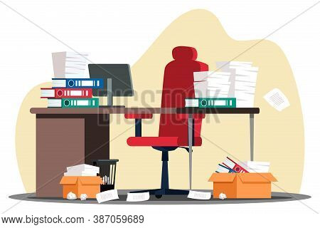 Stressful Paperwork Blockage At Work. Empty Office Room With Document Pile Stack In Folder Or Box, C