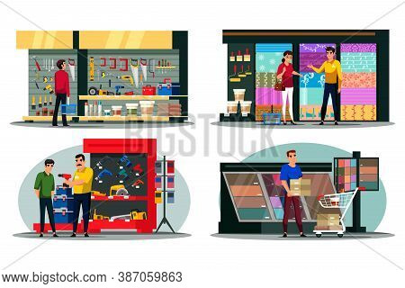 Vector People Character Visiting Construction Shop Scene Set. Man Woman Visitor Choosing Instrument,