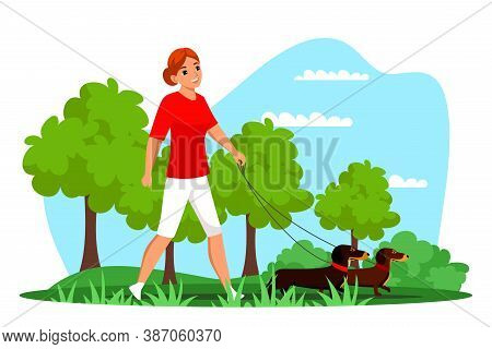 Vector Young Woman Pet Owner Character Walking Dog On Leash Outdoor In Park. Active Doggy Playing In