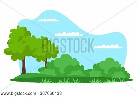 Vector Summer Natural Park Green Forest Background. Countryside Landscape With Tree And Bush. Spring