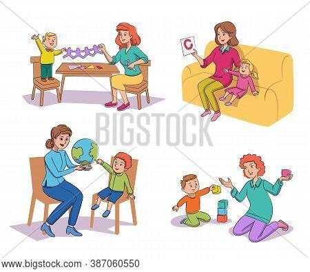 Vector Little Kids Nursing, Babysitting, Teaching Scene Set. Young Woman Tutor, Teacher, Babysitter,