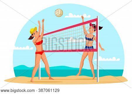 Girls Playing Beach Volleyball Flat Illustration. Professional Players In Sportswear Cartoon Charact