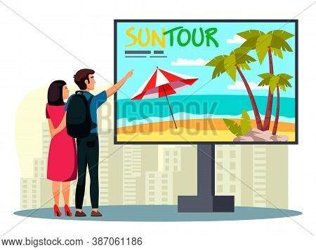 Happy Vector Man And Woman Looking At Billboard Over Cityscape. Suntour Agency Advertisement. Travel