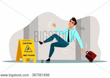 Vector Businessman Office Worker Character Falling On Slippery Wet Floor. Man Lost Eyeglasses And Br