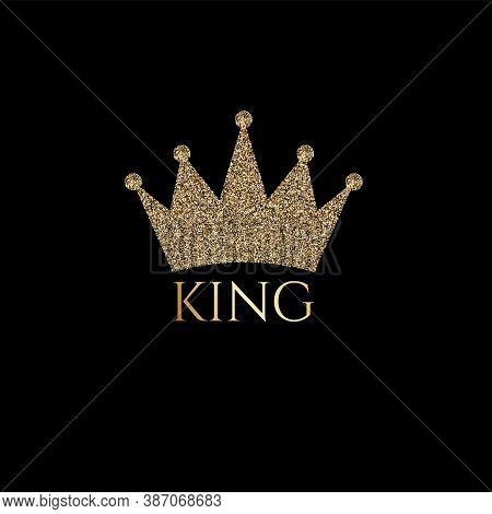 Trendy Lettering King With Gold Crown Image For Print