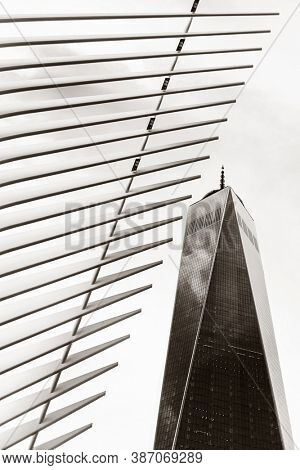 NEW YORK, USA - JAN 13, 2019: World Trade Center station Oculus traffic hub exterior view as the mordern monumental landmark.