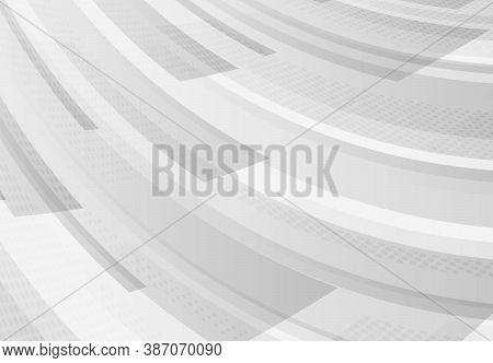 Abstract Gradient White And Gray Rectangle Pattern Design With Halftone Decoration Background. Decor