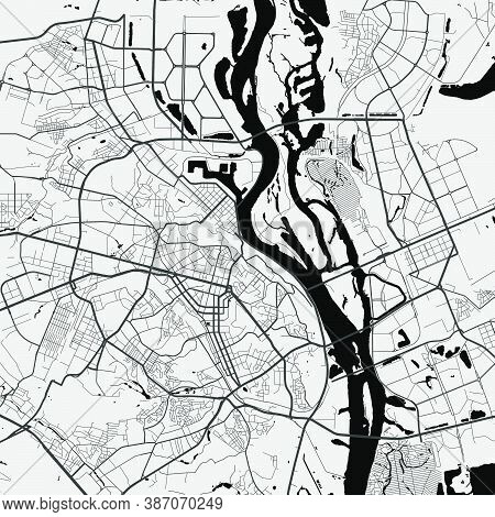Urban City Map Of Kyiv Kiev. Vector Illustration, Kyiv Kiev Map Grayscale Art Poster. Street Map Ima