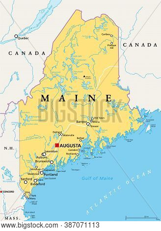 Maine, Me, Political Map With Capital Augusta. Northernmost State In The United States Of America, A