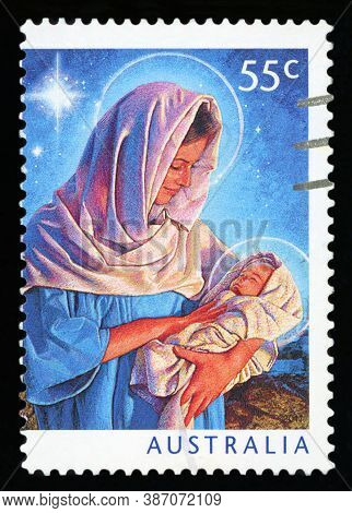 Australia - Circa 2011: A Canceled Postage Stamp From Australia, Shows The Illustration Of Mary And