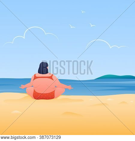 Chubby Young Woman Doing Yoga On Tropical Beach. Meditating With Natural, Vector Illustration.