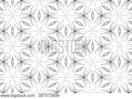 Hand Drawn Pattern, Seamless Pattern Of Abstract Nature Form, Black Ink On White Background.