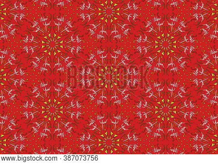 Seamless Background Pattern Of New Year Theme, Red Background With Doodle New Year Wording, Party Po